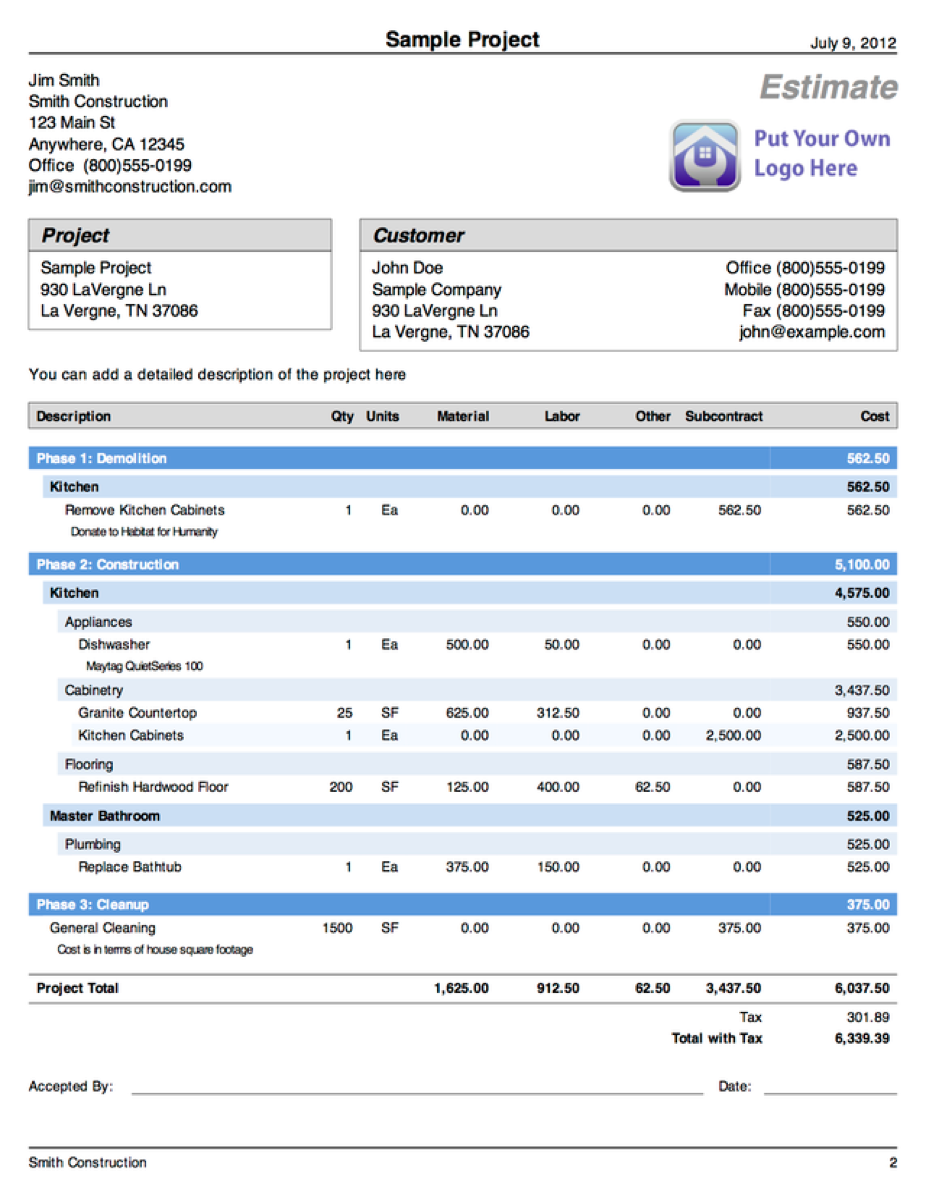 Sample Cost Estimate Template - Demolition estimate template